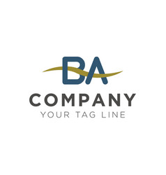 ba letter logo template with wave elements vector image