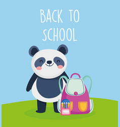 back to school education panda with bag and vector image