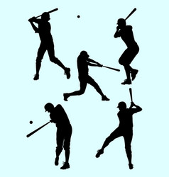 Baseball player gesture silhouette 01 vector