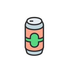 beer can flat color line icon vector image