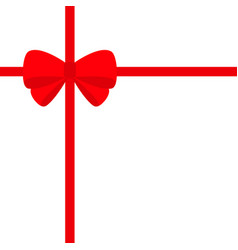 big red ribbon with christmas bow icon gift box vector image