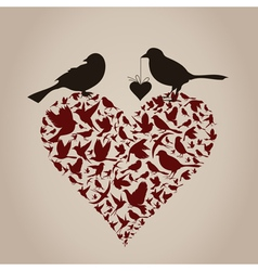Bird on heart vector image vector image