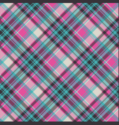 Blue pink check plaid fabric texture seamless vector