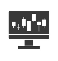 candlestick chart on computer screen data report vector image