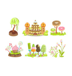 candy land set sweet fantasy landscape elements vector image