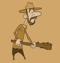 Cartoon man with whiskers in a hat holds a wooden vector