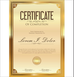 Certificate or diploma retro vintage golden vector