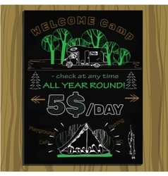 chalk board invitation for holiday in the camping vector image