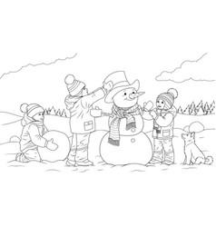 Children sculpt a snowman vector