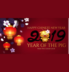 Chinese new year background with 2019 lettering vector