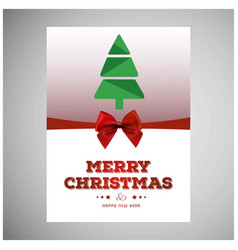 christmas card with tree and red bow vector image