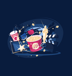 cinema accessories popcorn and 3d glasses vector image