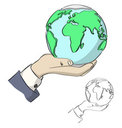 close-up businessman hand holding earth vector image