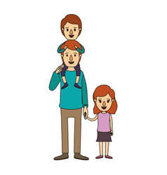 Color image caricature dad with boy on his back vector