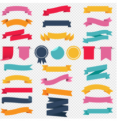 colorful ribbons and labels set transparent vector image
