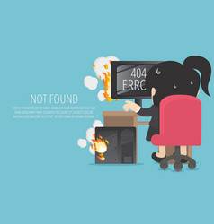 computer failure business woman working on laptop vector image