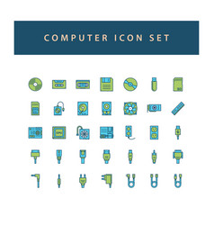 computer hardware icon set with filled outline vector image