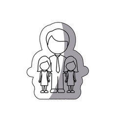 Contour man her girls twins icon vector