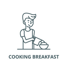 cooking breakfast line icon cooking vector image