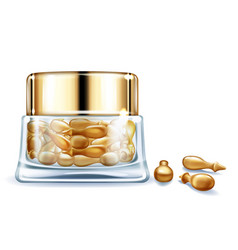 Cosmetic vitamin oil capsules realistic vector