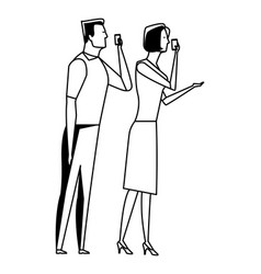 Couple speaking through cellphone black and white vector