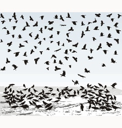 Crows in Winter vector image