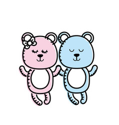 Cute animal couple bear together vector