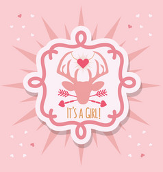 Cute pink its a girl deer emblem sticker card vector