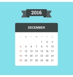 December 2016 Calendar vector