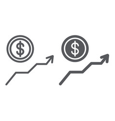 dollar growth line and glyph icon financial and vector image
