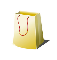 Empty paper shopping bag with rope handles vector