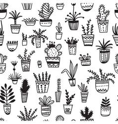 Ethnic pot flowers seamless pattern vector