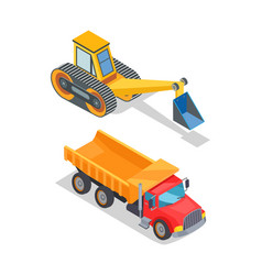 Excavator and truck with empty loading container vector