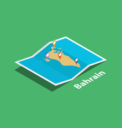 Explore bahrain maps with isometric style and pin vector