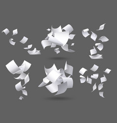 falling paper sheets flying papers pages white vector image