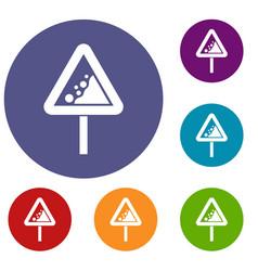 falling rocks warning traffic sign icons set vector image