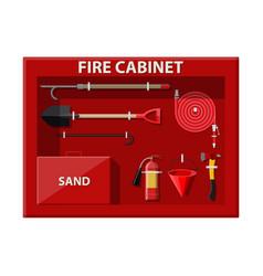 Fire cabinet firefighting set equipment vector