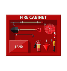 Fire cabinet firefighting set fire equipment vector