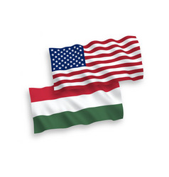 flags hungary and america on a white background vector image