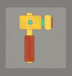 Flat shading style icon kids hammer vector