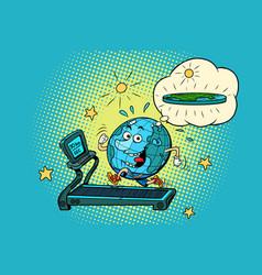 Fun fat earth on the treadmill dream to lose vector