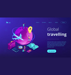 global travelling isometric 3d landing page vector image