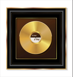 gold vinyl in black frame vector image