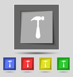 Hammer icon sign on original five colored buttons vector