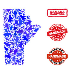 Hand collage manitoba province map and grunge vector