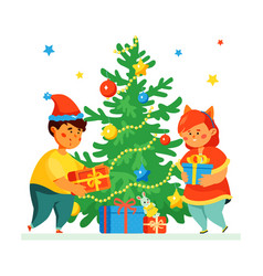 happy children at christmas tree - colorful vector image