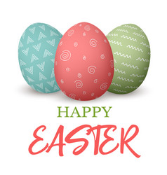 Happy easter easter red and green and blue doodle vector