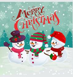 happy snowmen vector image