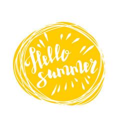 hello summer time sun eco bio lettering text vector image
