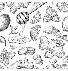 Honey ginger lemon and mint seamless vector